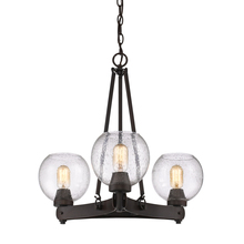 Golden 4855-3 RBZ-SD - Galveston 3 Light Chandelier in Rubbed Bronze with Seeded Glass