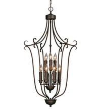 Golden 6427-9 RBZ - 2 Tier - 9 Light Caged Foyer