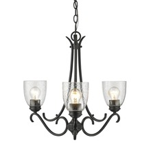Golden 8001-3 BLK-SD - Parrish 3 Light Chandelier in Black with Seeded Glass